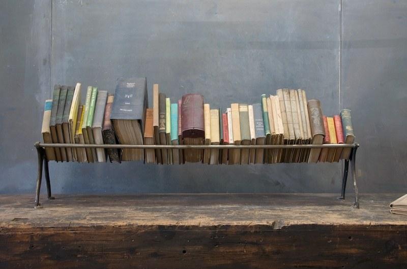 Vintage Low Cast Iron Rail Book Shelf Factory 20