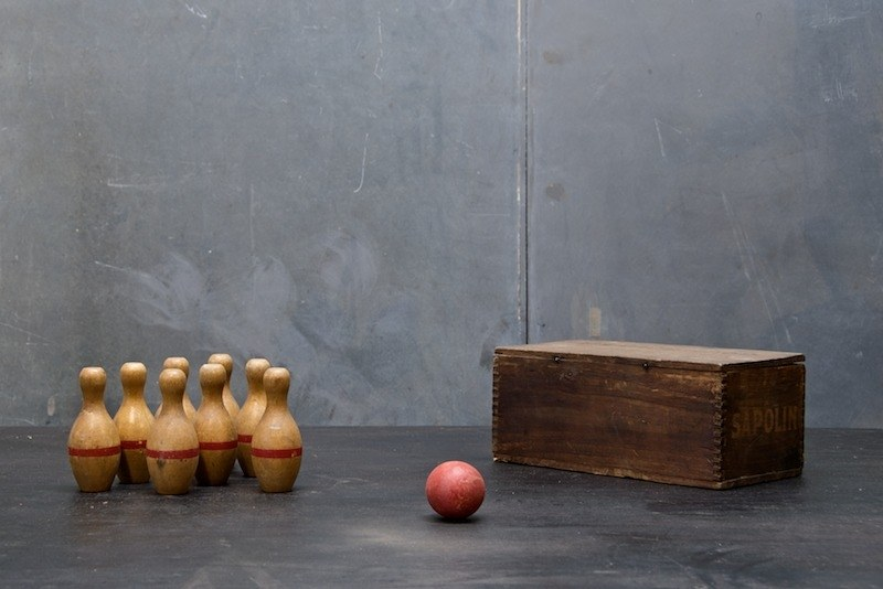 vintage wooden bowling pins and ball factory 20