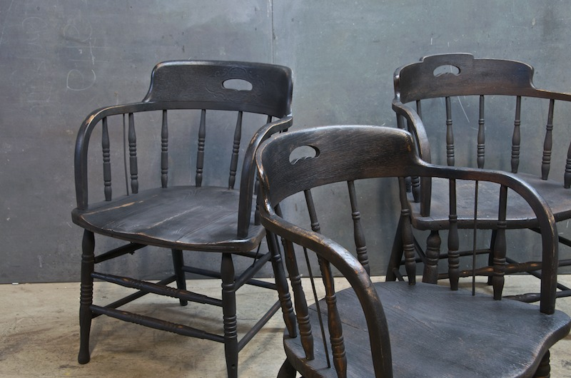 Vintage St Michaels Wood Tavern Chairs   Factory 20