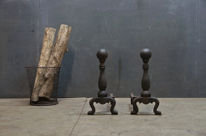 Vintage Cast Iron Fireplace Andirons : Factory 20