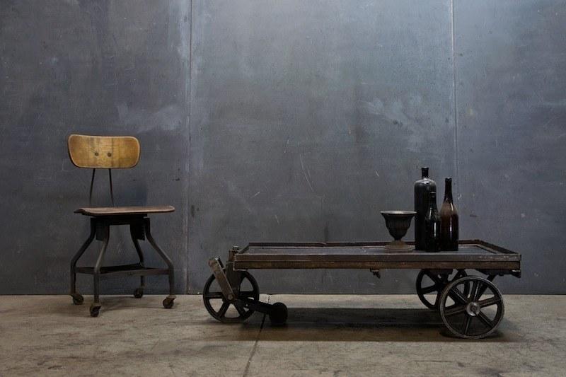 Vintage Industrial Cart Coffee Table  Factory 20 -> Table Basse Vintage Industriel