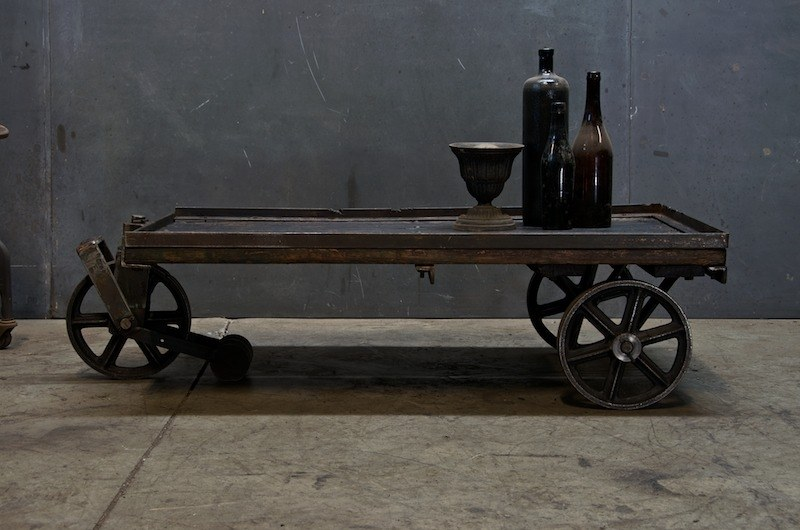 Vintage Industrial Cart Coffee Table Factory 20