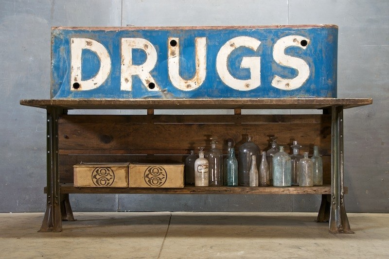 Vintage Drugs Pharmacy Box Sign Factory 20