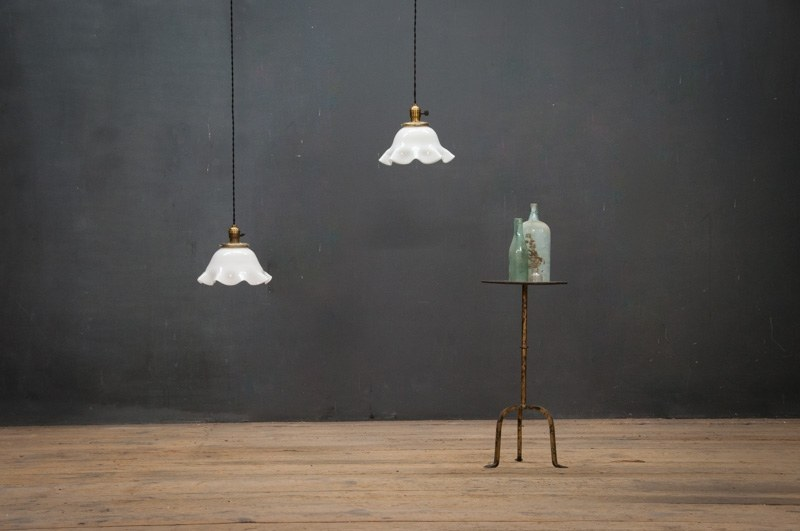 Hanging pendant lights distance from counter : Vintage clamshell hanging counter pendants factory