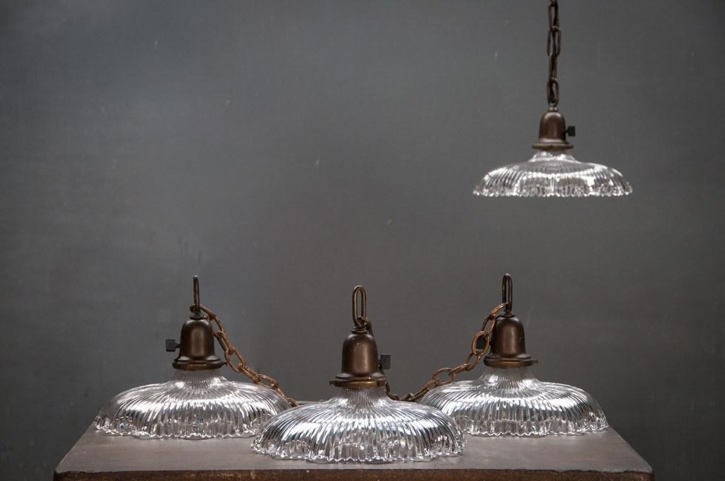 Vintage Industrial Age Holophane Pendants : Factory 20