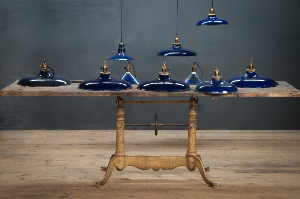& Vintage Cobalt Blue Pendant Lights : Factory 20