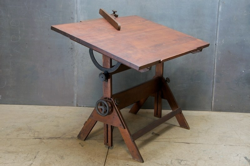 Architects Oak Cast Iron Drafting Table Factory 20